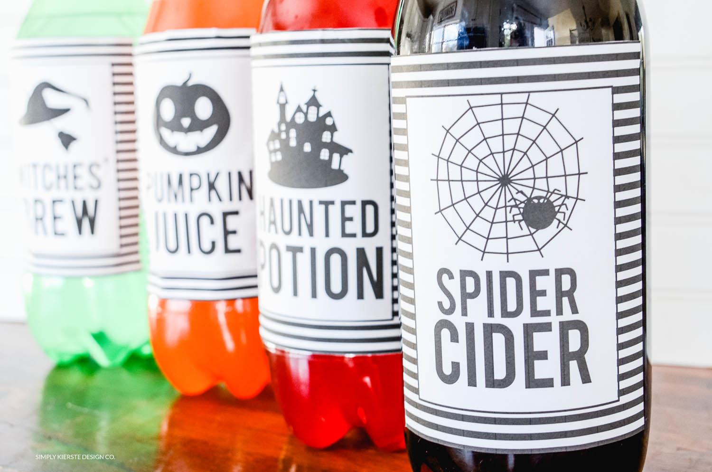 Halloween Soda Pop Labels | Free Printable | Easy Halloween Ideas | simplykierste.com #halloween #easyhalloweenideas #halloweenprintables #halloweenpartyideas