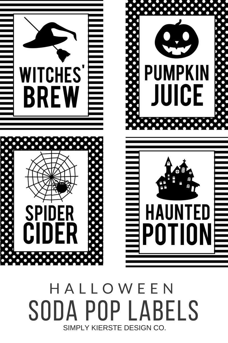 Halloween Soda Pop Labels Simply Kierste Design Co