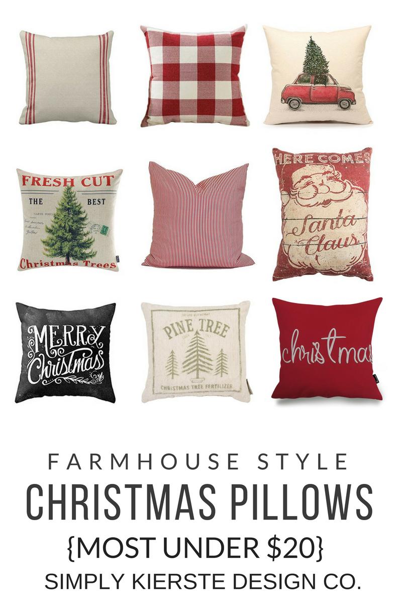 Farmhouse Style Christmas Pillows | under $20 | oldsaltfarm.com #farmhousestyle #farmhousepillows #farmhouseChristmas #vintageChristmas
