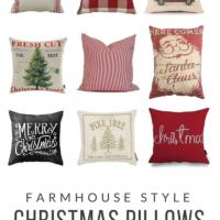 Farmhouse Style Christmas Pillows | under $20 | simplykierste.com #farmhousestyle #farmhousepillows #farmhouseChristmas #vintageChristmas