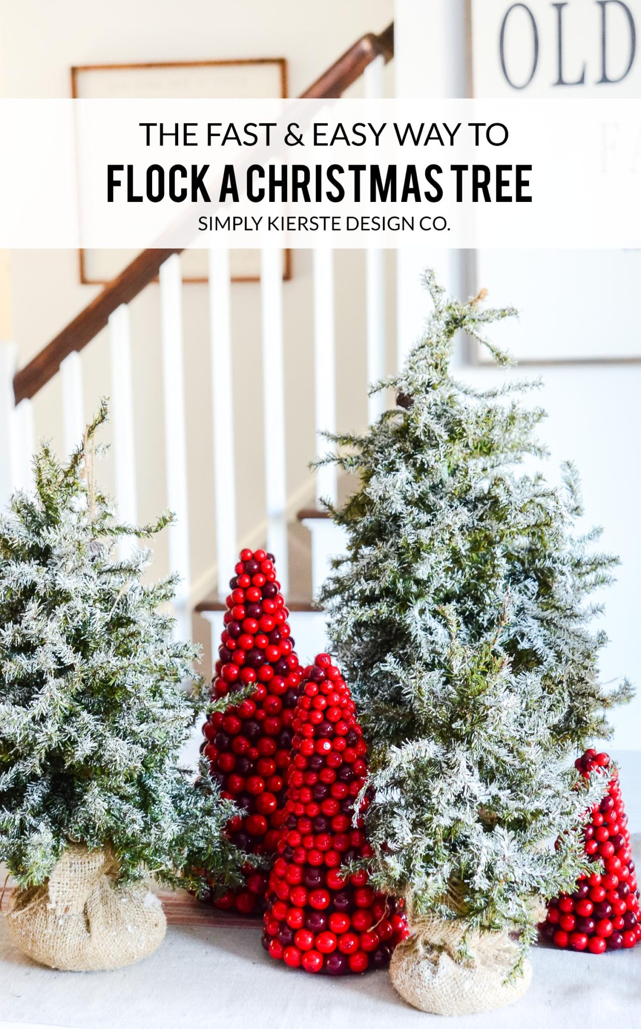 How to Flock a Christmas Tree the EASY way! | oldsaltfarm.com #diyflockedtree #flockedchristmastree #diychristmasdecor