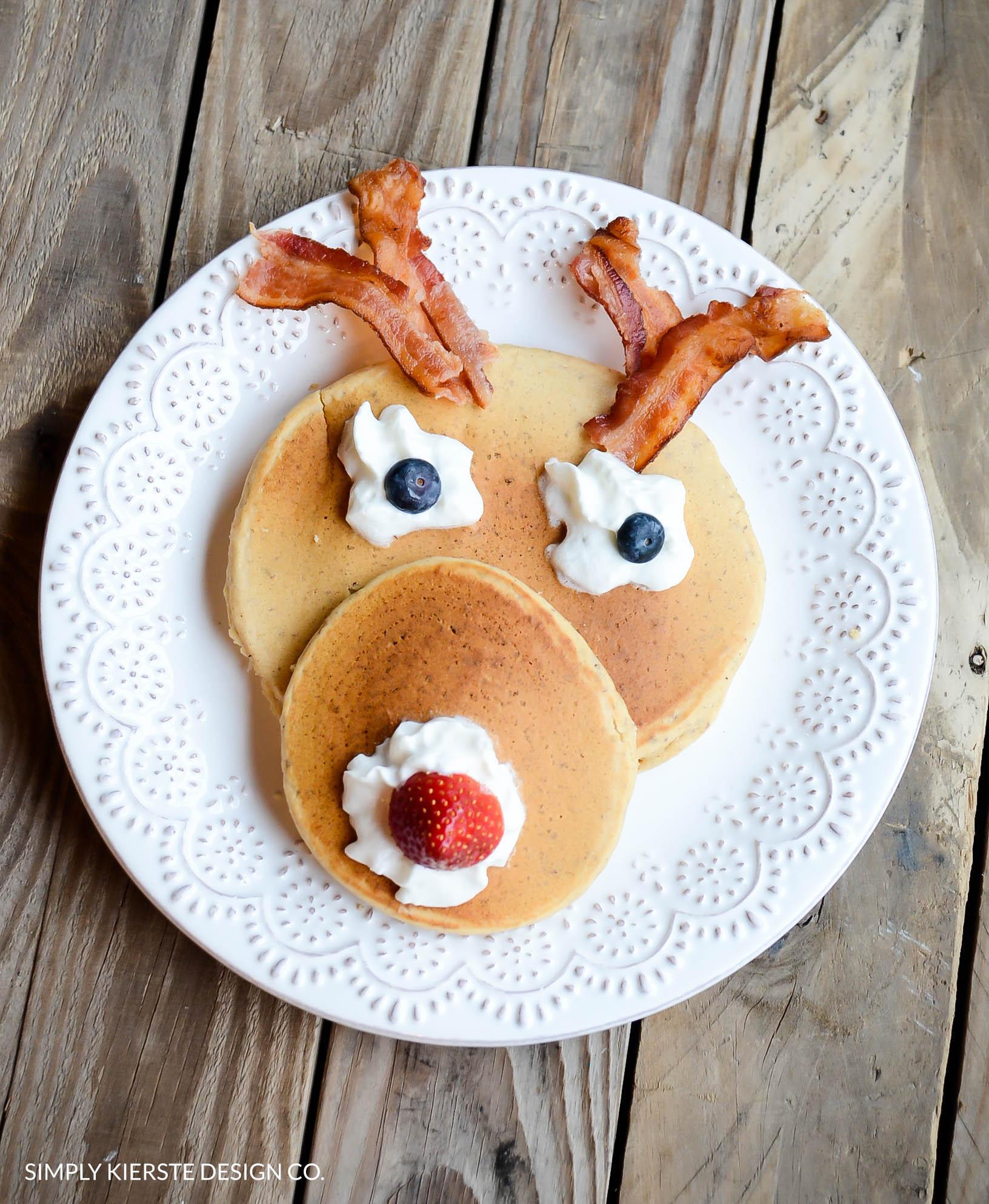 Rudolph Pancakes | Christmas Breakfast | oldsaltfarm.com #christmasbreakfast #rudolphthereindeernosedreindeer #pancakes