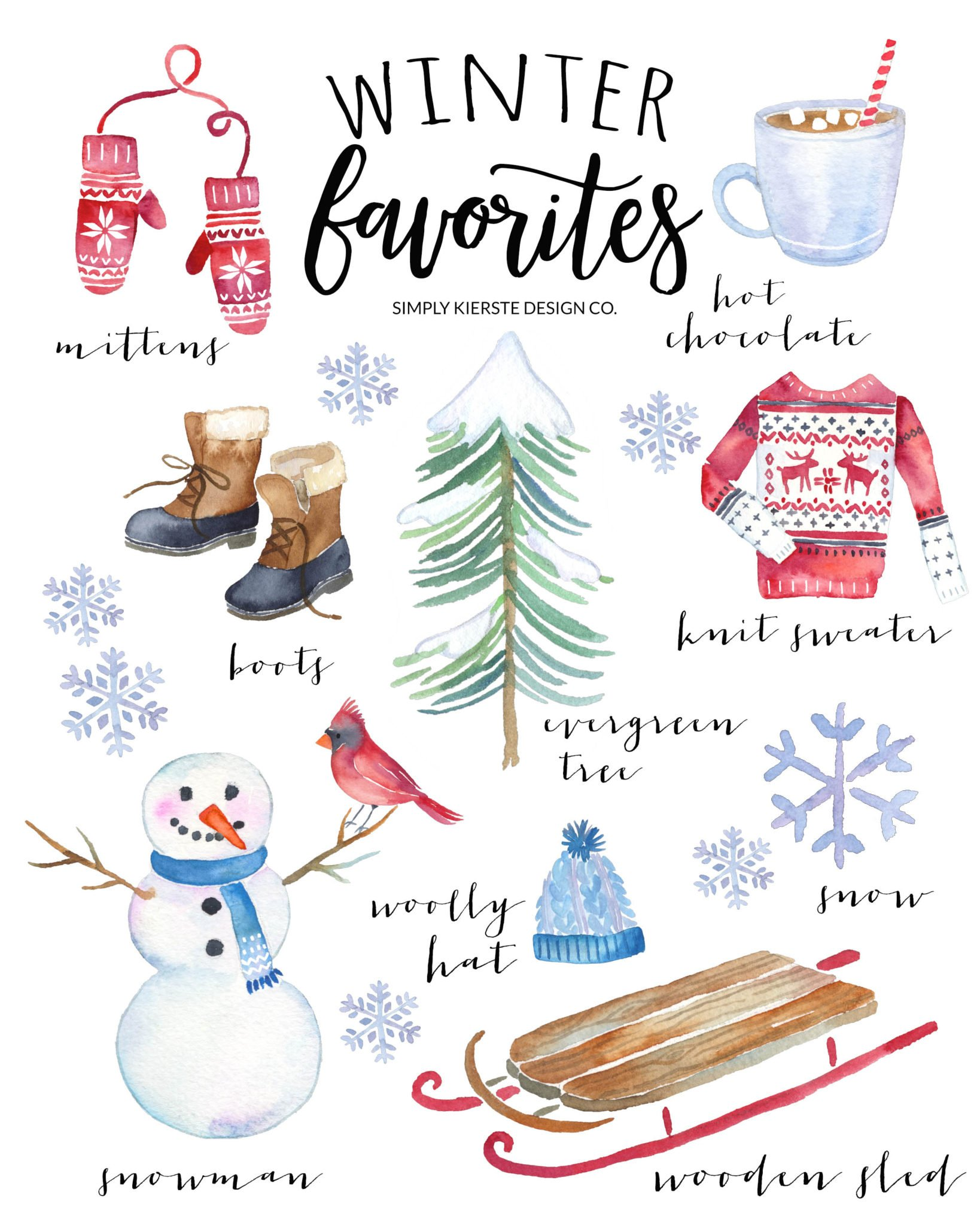 Winter Favorites Printable | Vintage Style | simplykierste.com #vintageChristmas #Christmasprintable #winterfavorites #Christmasdecor