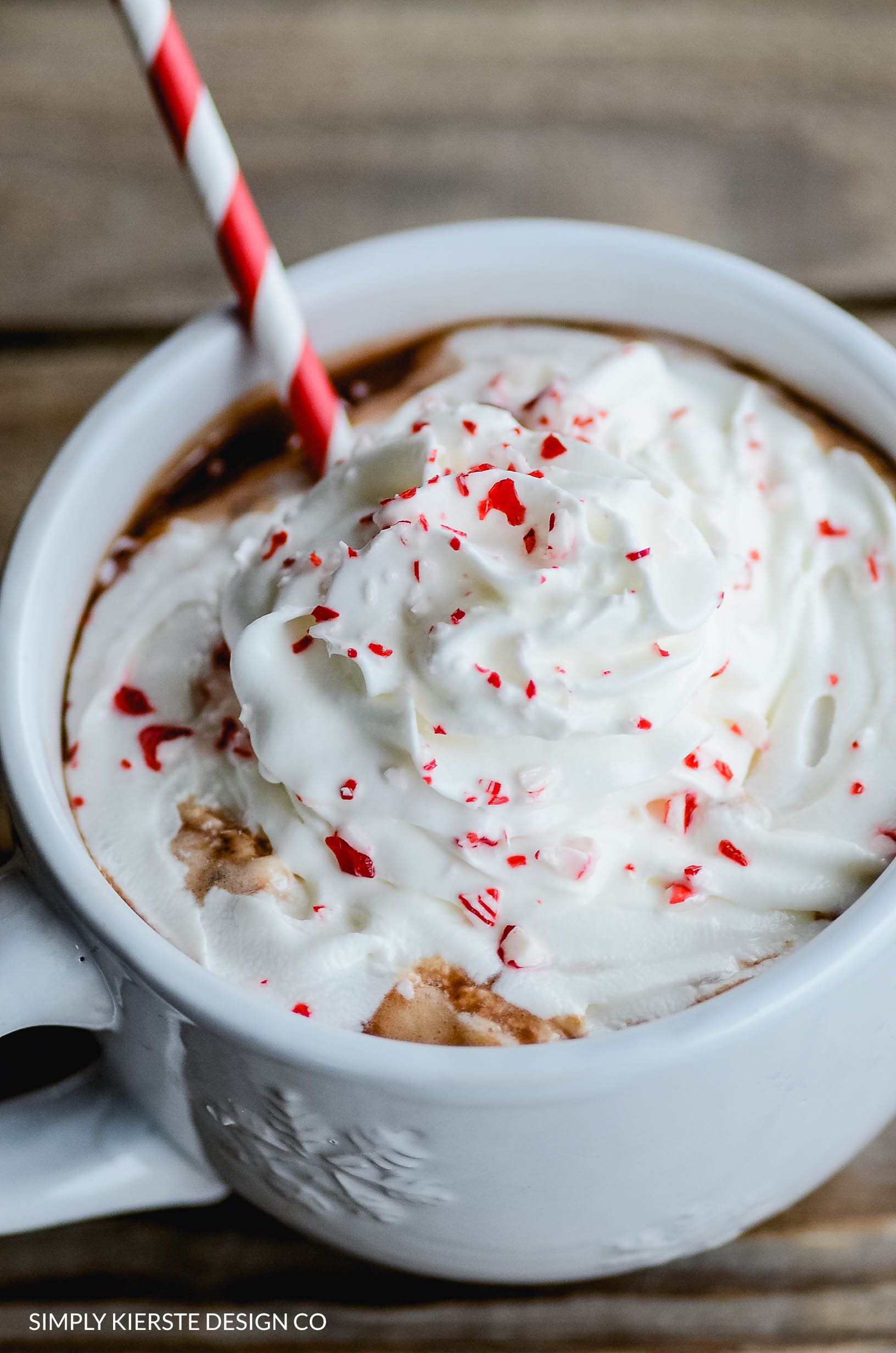 The BEST Homemade Hot Chocolate with Peppermint Cream | simplykierste.com #peppermint #hotchocolate #whippedcream