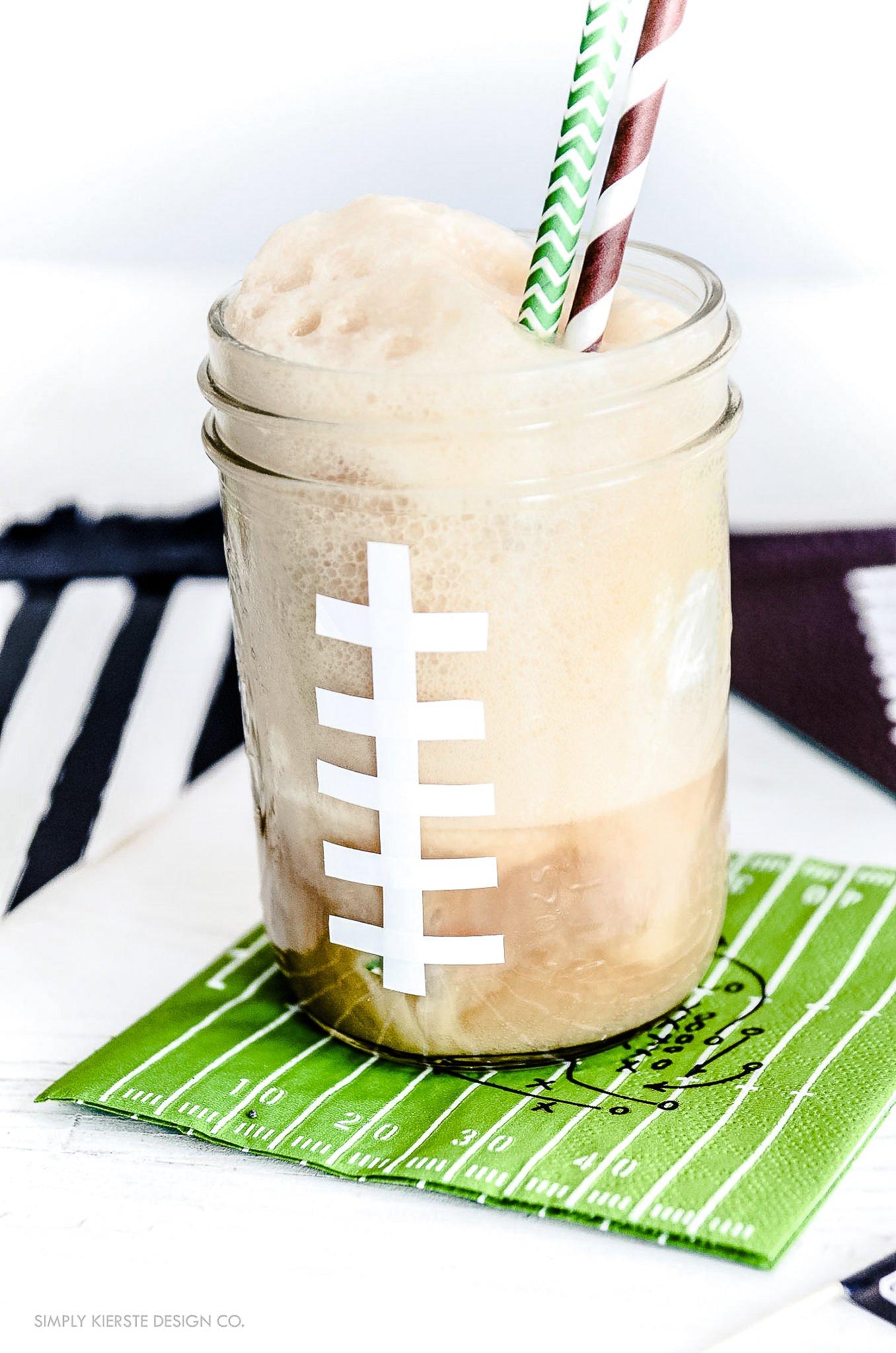Mason Jar Football Root Beer Floats