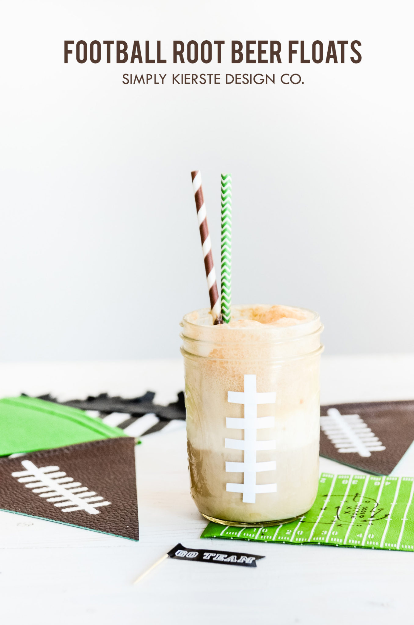 Football Root Beer Floats | Game Day Treats | simplykierste.com #footballtreats #gamedayfood #masonjarideas #gamedayrecipes