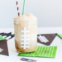 Football Root Beer Floats | Game Day Treats | simplykierste.com #superbowlrecipes #gamedayfood #masonjarideas #gamedayrecipes