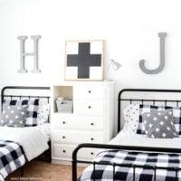 Black Buffalo Check Boys' Bedroom Makeover | Boys' Room on a Budget | oldsaltfarm.com #buffalocheck #boysbedroom #bedroommakeover #industrialbedroom