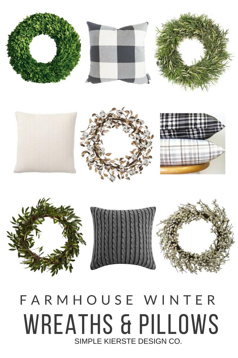 Farmhouse Winter Decor: Wreaths & Pillows | oldsaltfarm.com #farmhousestyle #farmhousedecor #farmhousewinterdecor #farmhousewreaths #farmhousepillows