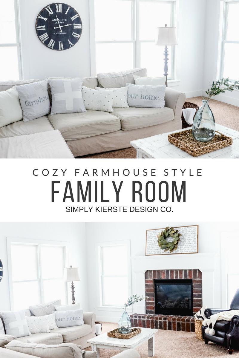 Cozy Farmhouse Family Room | simplykierste.com #farmhousestyle #familyroomdecor #familyroomideas