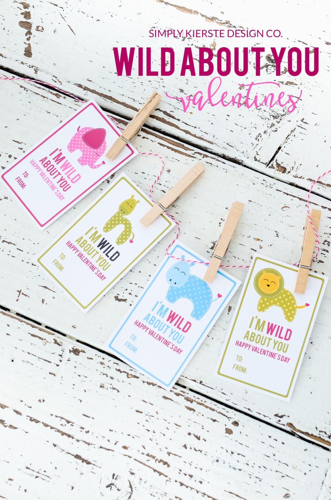 Wild About You Valentine | simplykierste.com #valentinesday #preschoolvalentines #printablevalentines #easyvalentines