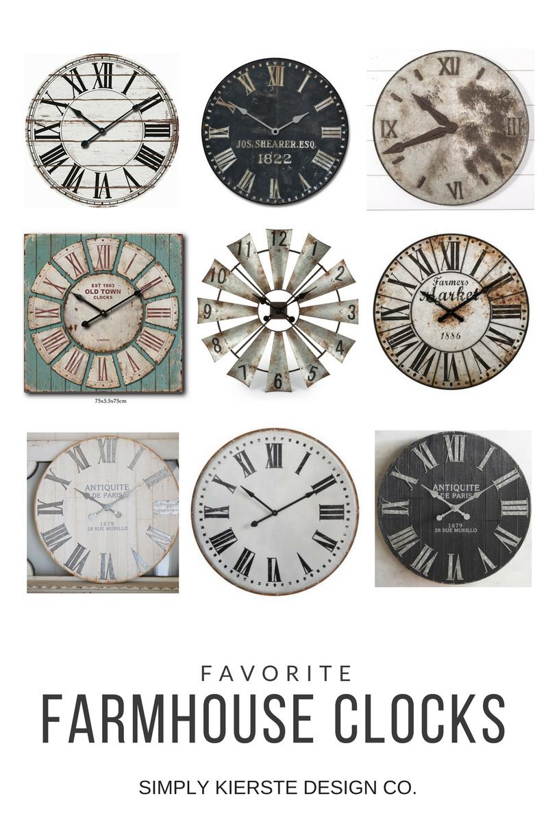 Favorite Farmhouse Clocks | simplykierste.com #farmhouse #farmhousestyle #farmhouseclocks