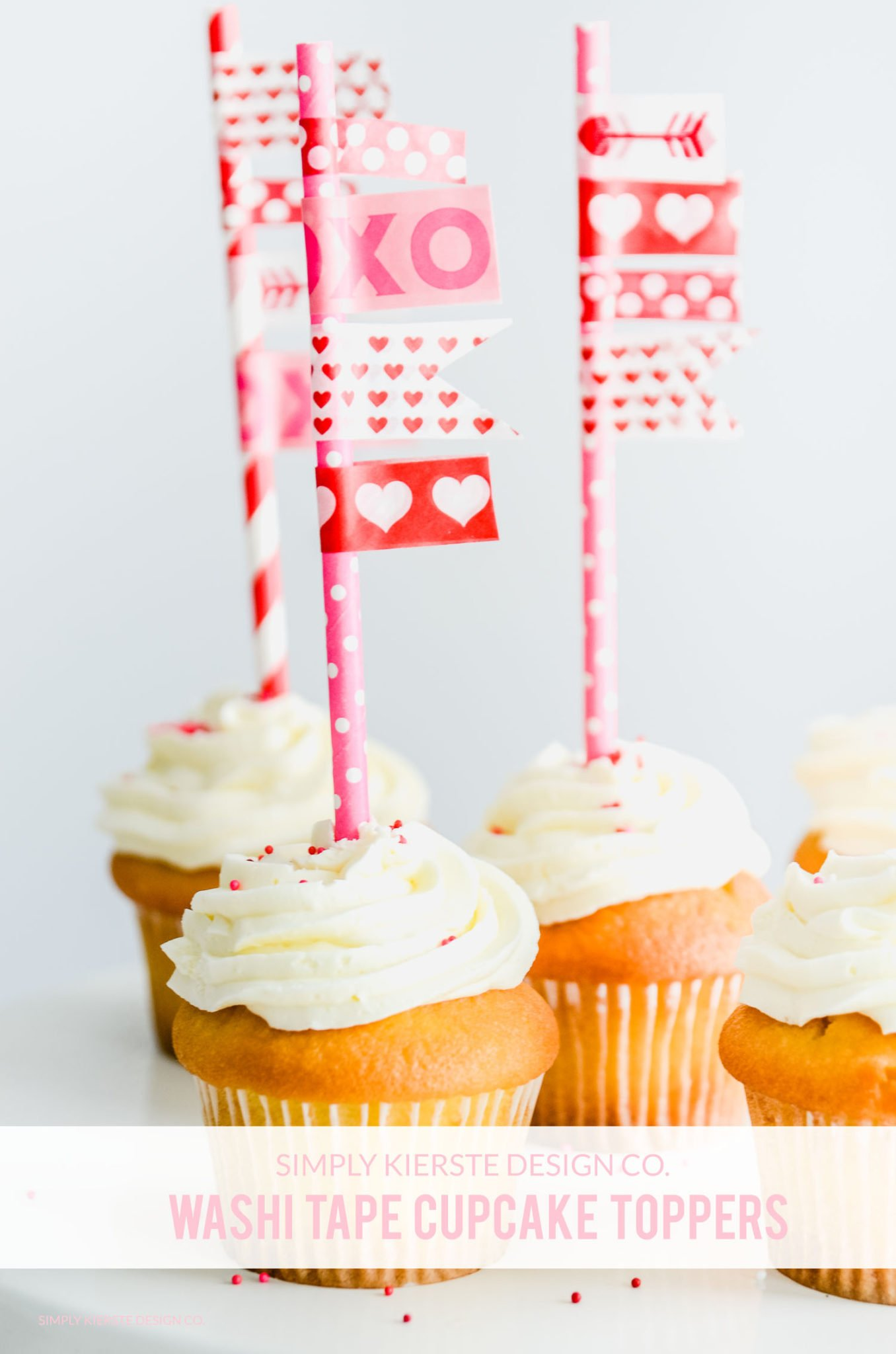 Washi Tape Cupcake Toppers | Valentine's Day | simplykierste.com #washitape #cupcaketoppers #valentinesdaytreats #valentinesdayideas