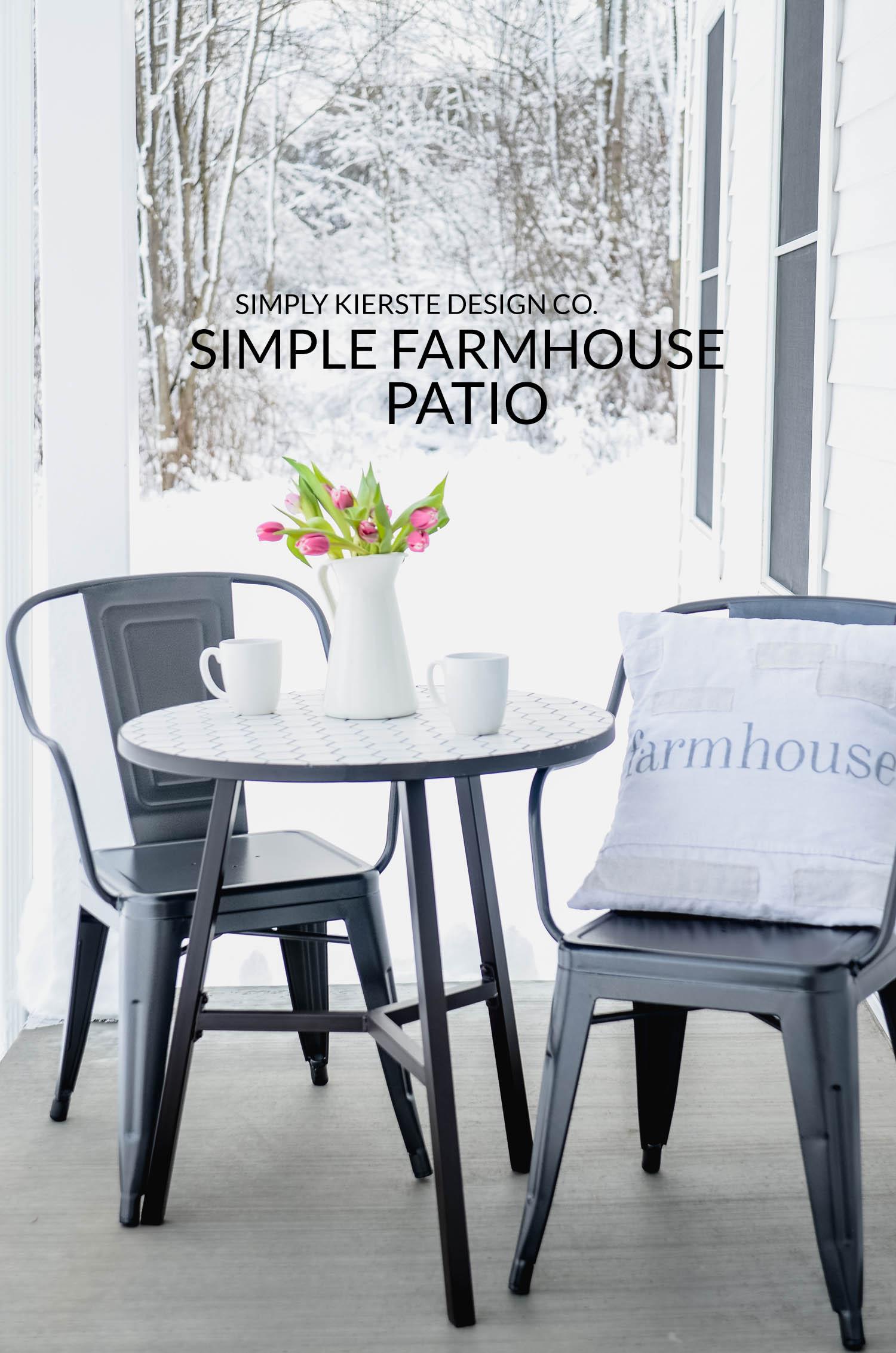 Simple Farmhouse Patio | Cozy Front Porch | oldsaltfarm.com #farmhouse #farmhousestyle #outdoorentertaining #patiofurniture
