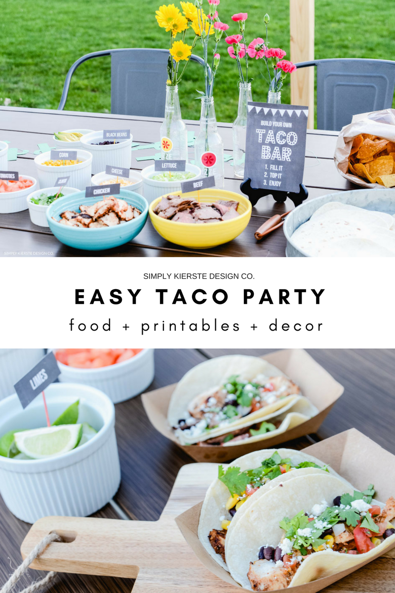 Festive & Easy Taco Bar   Food + Printables + Decor   Cinco De Mayo #cincodemayo #tacoparty #tacobar #tacobarprintables #tacopartyprintables #freeprintables #tacos #tacorecipes #tacoideas #chickentacos #beeftacos #tacopartydecor #fiesta #fiestaideas