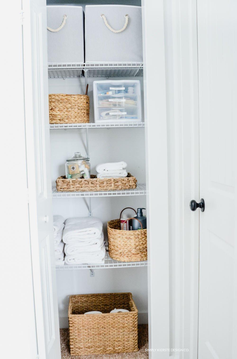 linen closet makeover pretty practical organization rh simplykierste com Cabinets Linen Closet Makeover Linen Closet Shelving