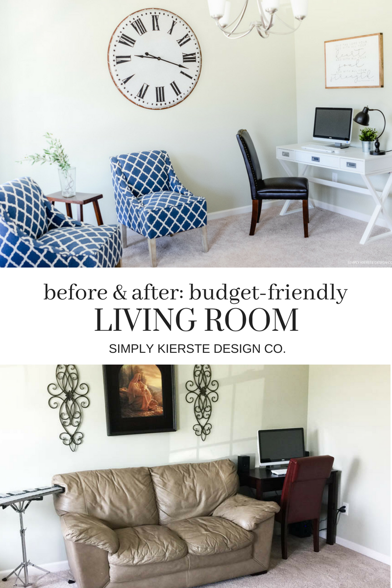 Before & After- Budget Friendly Living Room Makeover