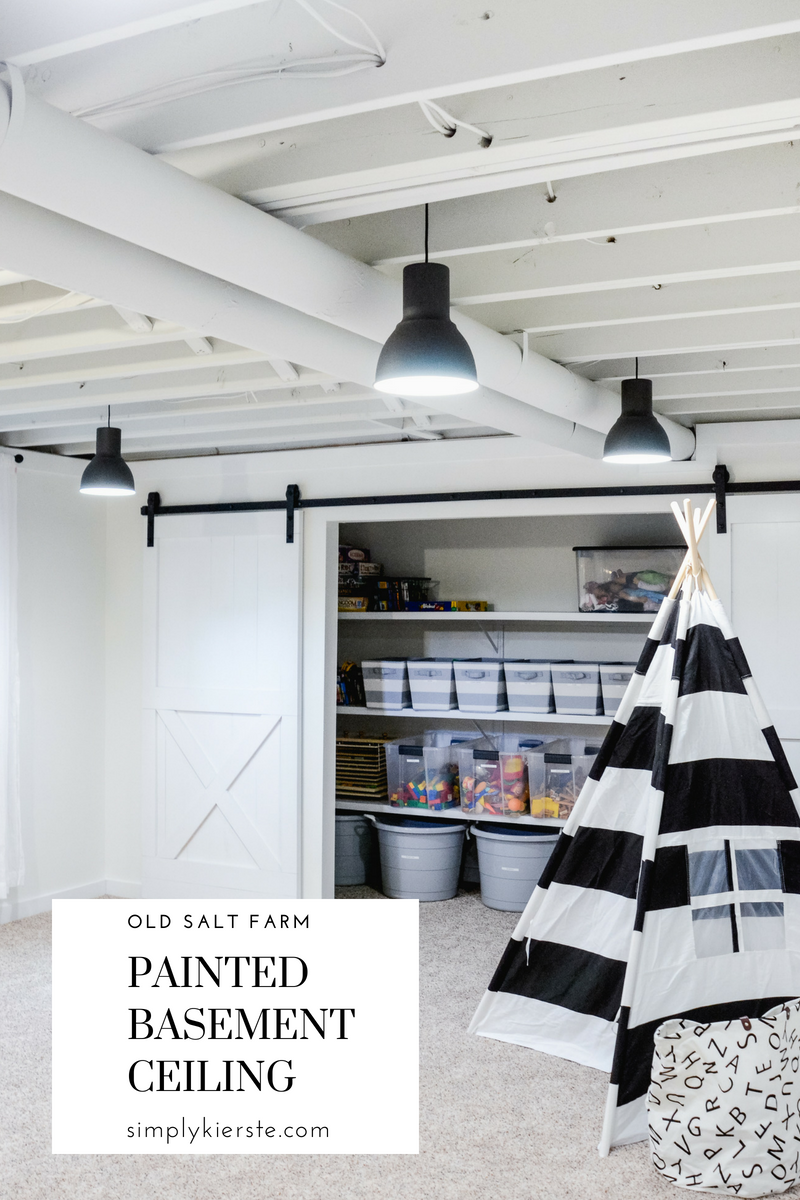 Painted Basement Ceiling White