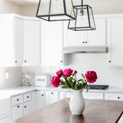 Summer Pink Peonies & White Kitchen Curtains   Farmhouse Kitchen