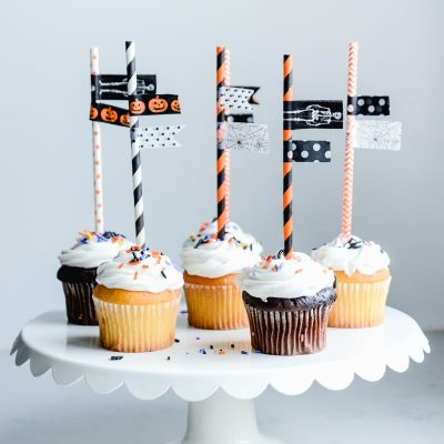 Washi Tape Halloween Cupcake Toppers
