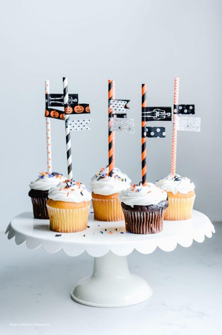 Halloween Washi Tape Cupcake Toppers