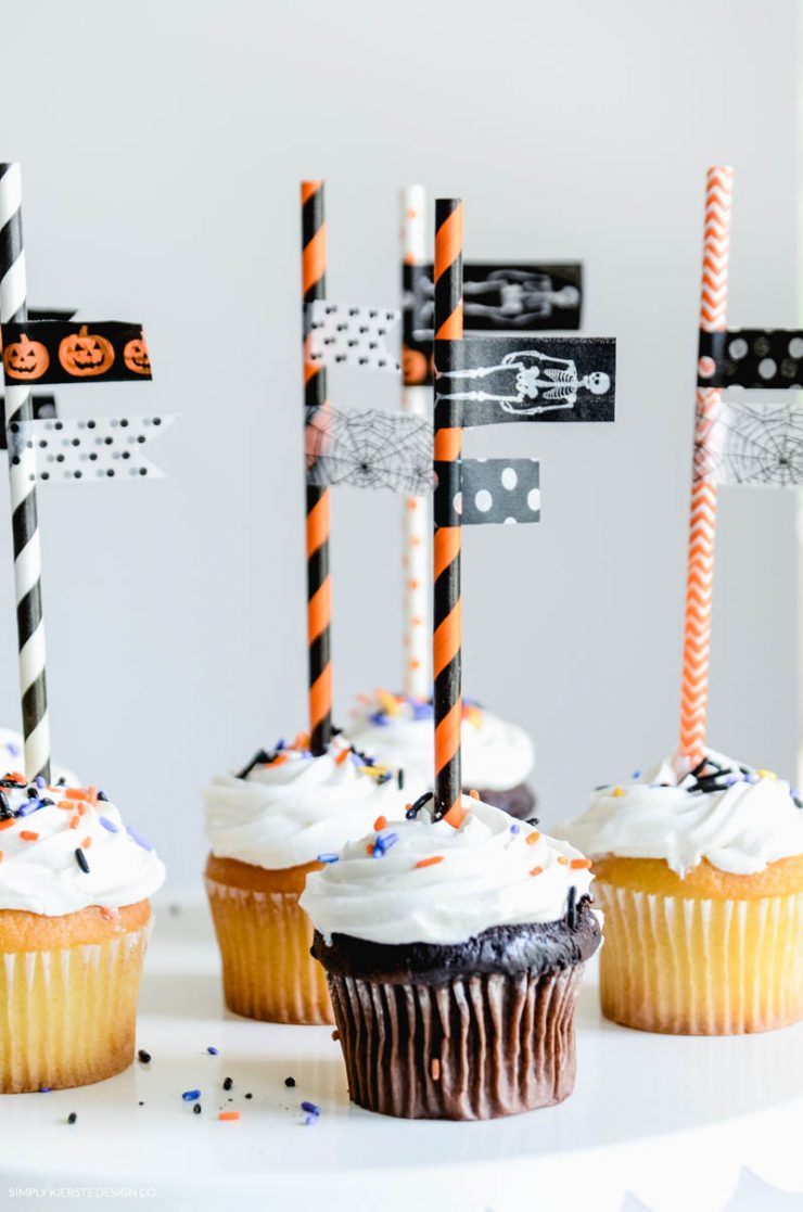 Halloween Washi Tape Cupcake Toppers