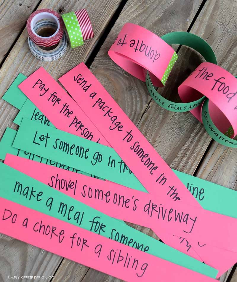 Christmas Kindness Countdown Chain + Service Ideas for Families