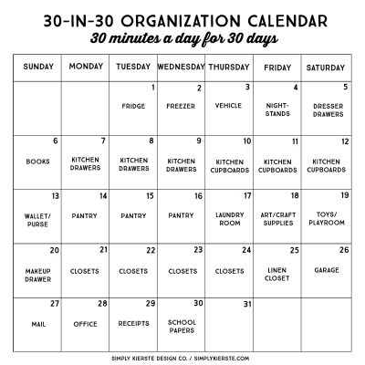 30 Minute, 30 Day Organization Challenge