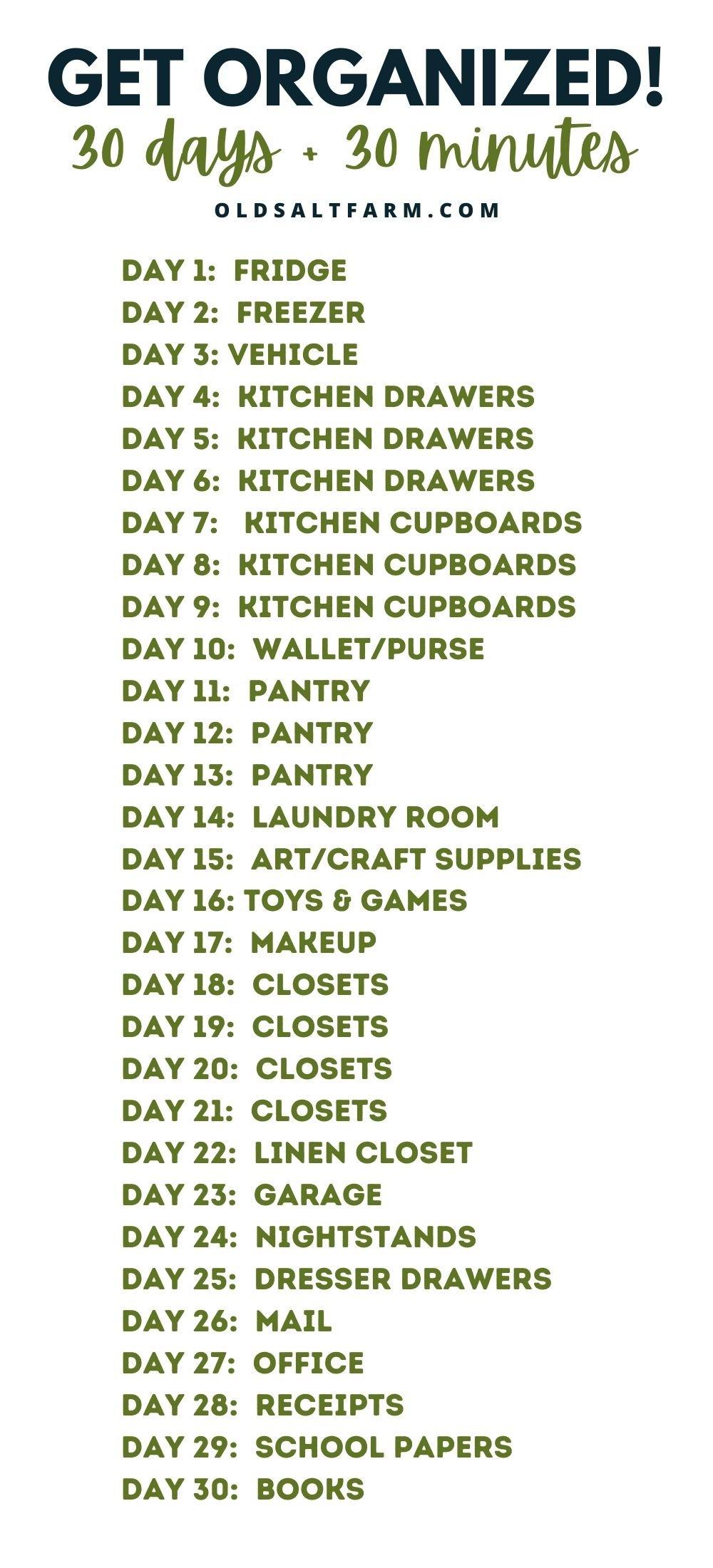 30 Minute, 30 Day Organization Challenge
