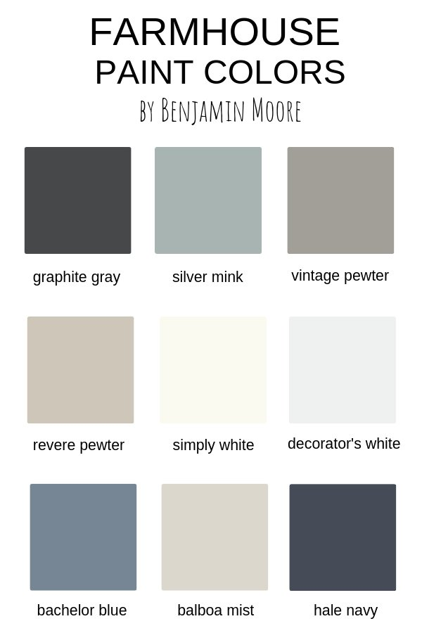 Farmhouse Paint Colors by Benjamin Moore
