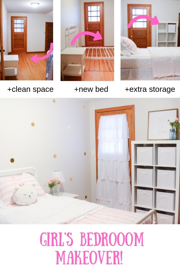 Girl's Room Bedroom Makeover | Pink White and Gold