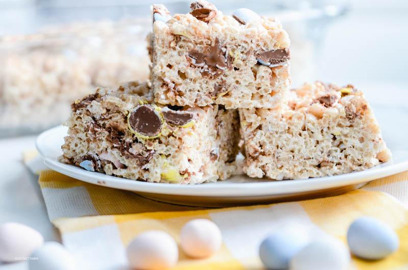 Easter Rice Krispie Treats with Mini Cadbury Eggs
