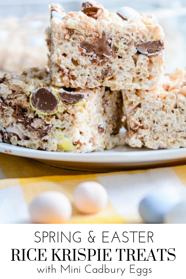 Easter Rice Krispie Treats with Mini Cadbury Eggs