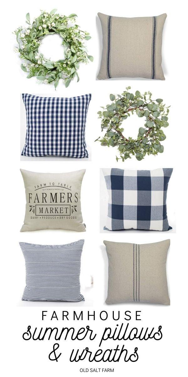 Farmhouse Summer Pillows & Wreaths