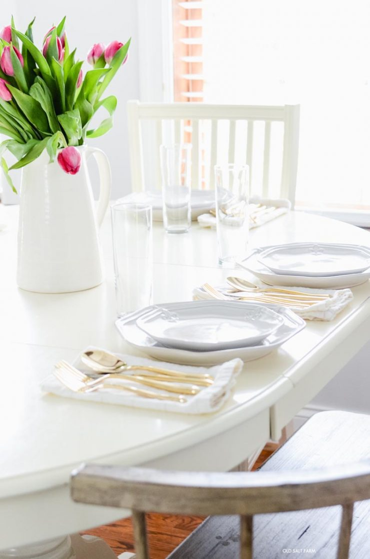 farmhouse spring table fresh tulips