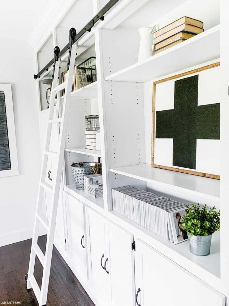 Farmhouse Bookshelves and Rolling Ladder