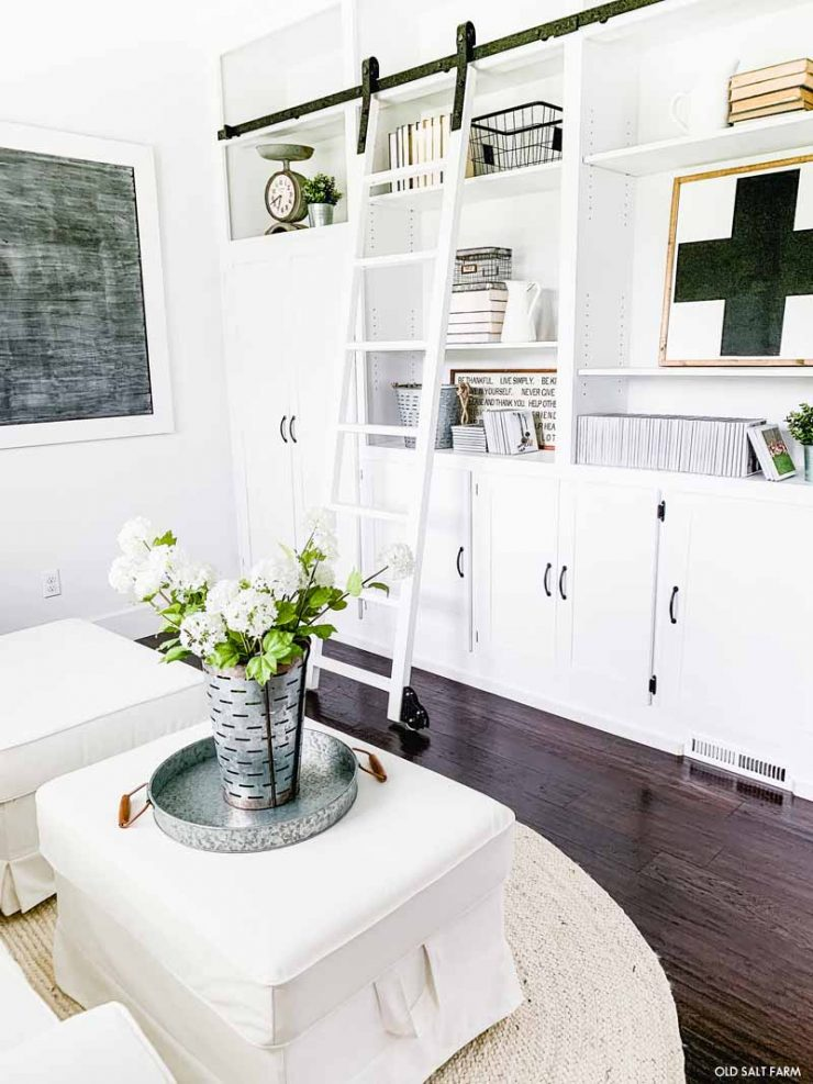 Farmhouse Shelves with Rolling Ladder