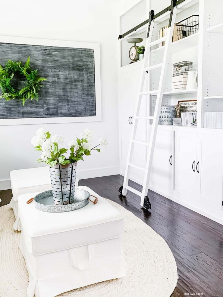 Floor to ceiling bookshelves with rolling ladder
