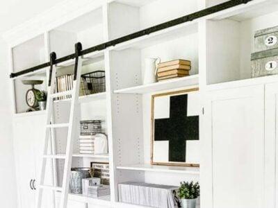 DIY Bookshelves and Rolling Ladder