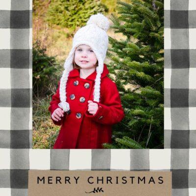Black Buffalo Check Christmas Card Templates