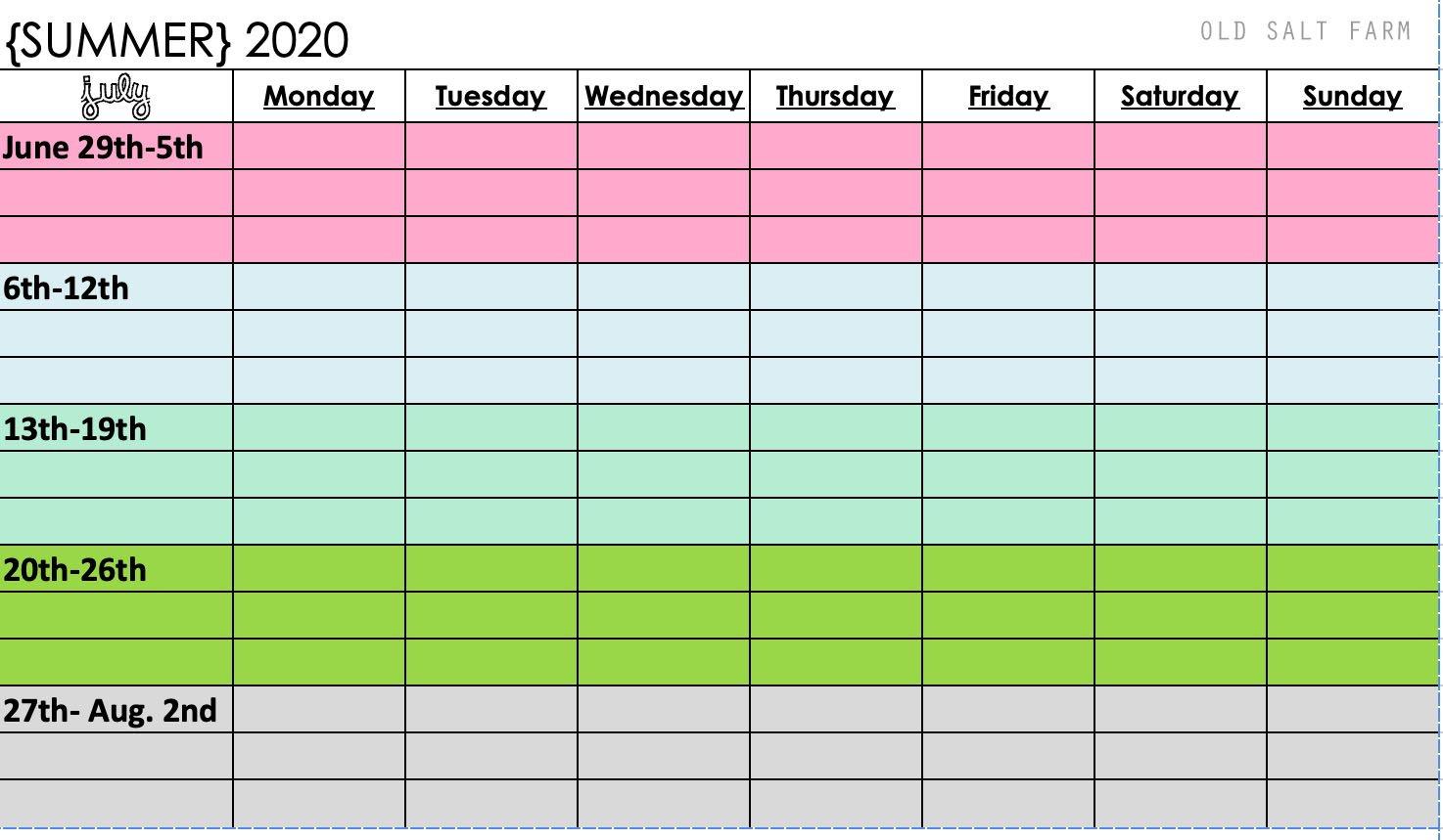 Printable Summer Calendar for Families 2020