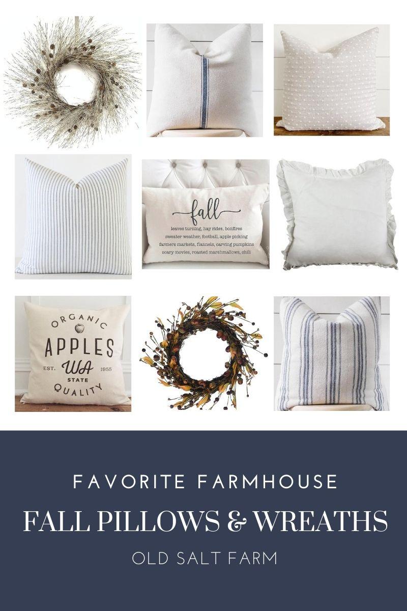 Neutral Farmhouse Fall Wreaths & Pillows