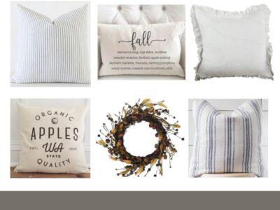 Neutral Farmhouse Fall Pillows & Wreaths