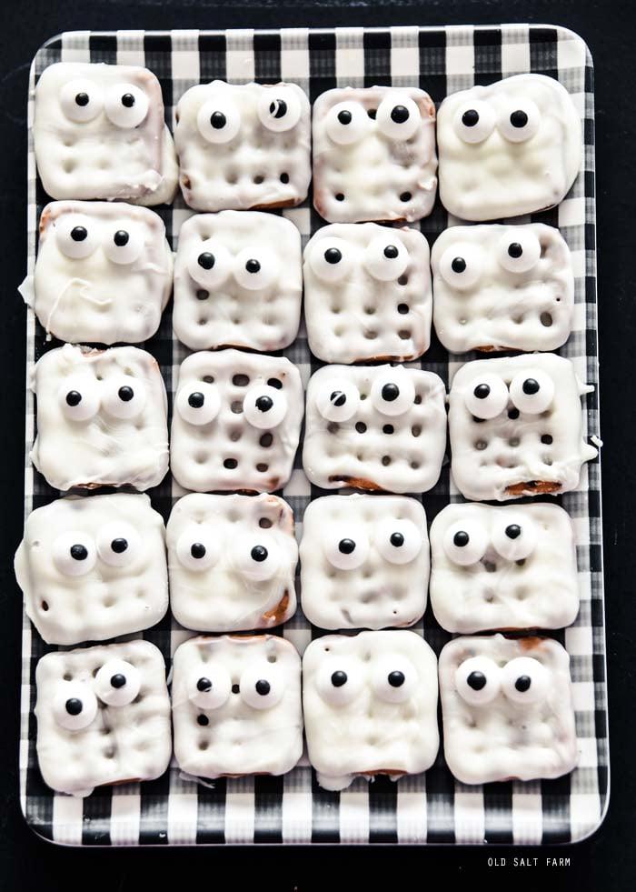 Waffle Pretzel Mummies: Halloween Treat