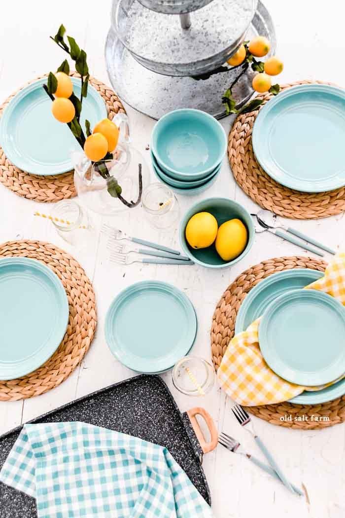 Lemony Summer Tablescape in Aqua & Yellow